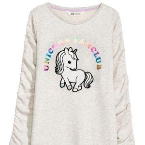 H&M Sweatshirt Dress girls Unicorn fanclub 8-10
